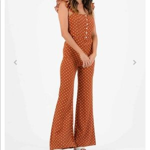 Burnt orange polka dot jumpsuit! Size small